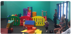 The YMCA's Family Fun Center is a great place for parents and children to play together
