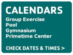 Calendars contain schedules for the YMCA pool, gym, teen center and more